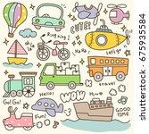 set of cute transportation... | Shutterstock .eps vector #675935584