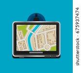 flat vector gps navigation | Shutterstock .eps vector #675937474