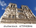 close up of notre dame de paris ... | Shutterstock . vector #675940846