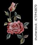 embroidery  imitation satin...   Shutterstock .eps vector #675943870