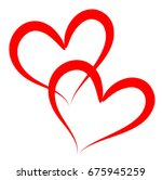 Two Red Outline Vector Hearts...