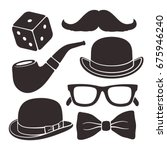 silhouettes of mustache ... | Shutterstock .eps vector #675946240