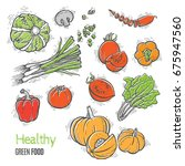 fresh vegetables vector concept ... | Shutterstock .eps vector #675947560