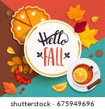 hello fall lettering in gold... | Shutterstock .eps vector #675949696