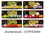 set of colorful labels  sketch... | Shutterstock .eps vector #675953044