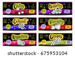 set of colorful labels in... | Shutterstock .eps vector #675953104