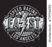 racing motorcycle typography ... | Shutterstock .eps vector #675956050