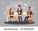 brainstorming creative team... | Shutterstock .eps vector #675956599