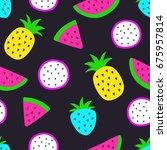 vector seamless watermelon ... | Shutterstock .eps vector #675957814