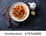 stir fry with chicken meat ... | Shutterstock . vector #675960880