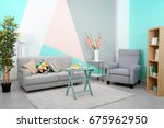 trendy comfortable room with... | Shutterstock . vector #675962950