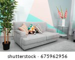 trendy comfortable room with... | Shutterstock . vector #675962956