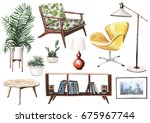 realistic hand painted... | Shutterstock . vector #675967744