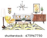 realistic hand painted... | Shutterstock . vector #675967750
