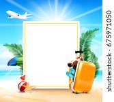 air plane open luggage travel... | Shutterstock .eps vector #675971050