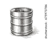 Keg. Hand Drawn Engraving Style ...