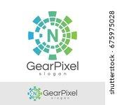 gear pixel initial letter n...   Shutterstock .eps vector #675975028