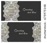 set of elegant lace greeting... | Shutterstock .eps vector #675975148