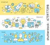 digital raster blue startup... | Shutterstock . vector #675977398