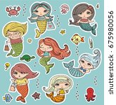 vector summer stickers cute... | Shutterstock .eps vector #675980056