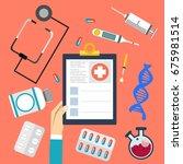 medical flat  background health ... | Shutterstock . vector #675981514