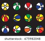 vector icon set beach balls...   Shutterstock .eps vector #675982048