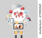 digital raster blue business... | Shutterstock . vector #675983569