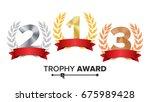 trophy award set vector....   Shutterstock .eps vector #675989428
