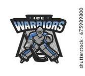 hockey goalkeeper logo  emblem.   Shutterstock .eps vector #675989800