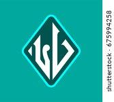 colored monogram logo curved...   Shutterstock .eps vector #675994258