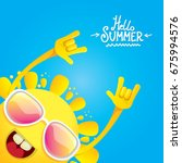 hello summer funky rock n roll... | Shutterstock .eps vector #675994576