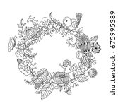 wreath of leaves and flowers. | Shutterstock .eps vector #675995389
