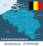 belgium map and flag   vector... | Shutterstock .eps vector #675999580