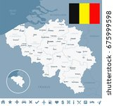 belgium map and flag   vector... | Shutterstock .eps vector #675999598