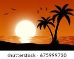 silhouette palm tree on beach... | Shutterstock .eps vector #675999730
