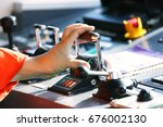 the captain controlled the boat ... | Shutterstock . vector #676002130