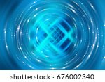 brilliant blue light circle.... | Shutterstock . vector #676002340