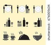 restaurant icons set | Shutterstock .eps vector #676005634