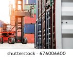 container ship yard in import... | Shutterstock . vector #676006600