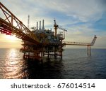 an offshore oil and gas... | Shutterstock . vector #676014514