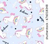 unicorn pattern illustration... | Shutterstock .eps vector #676018348