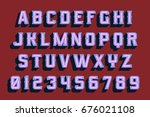 3d vintage letters with neon...   Shutterstock .eps vector #676021108