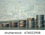 double exposure of graph and... | Shutterstock . vector #676022908