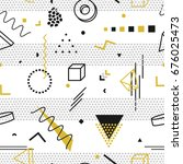 memphis seamless pattern  ... | Shutterstock . vector #676025473