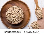top view of navy bean on white... | Shutterstock . vector #676025614
