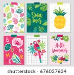 set of six summer cards with... | Shutterstock .eps vector #676027624