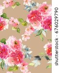 seamless summer pattern with... | Shutterstock . vector #676029790