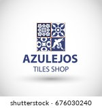 azulejos tiles shop logo vector | Shutterstock .eps vector #676030240