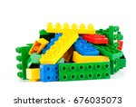 set  of color building blocks...   Shutterstock . vector #676035073