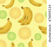 seamless pattern with fruits | Shutterstock .eps vector #676045114